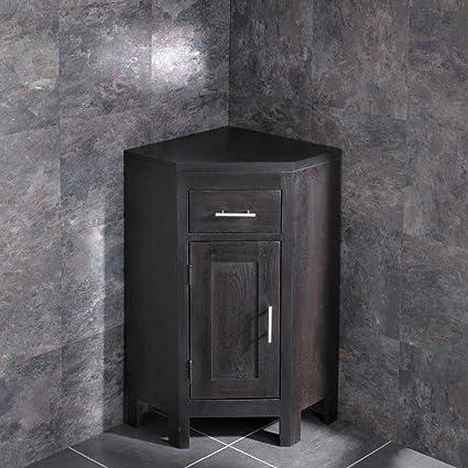 Clickbasin Solid Dark Oak Wenge Vanity Corner Cabinet From The Alta Range Bathroom Storage With No Sink Amazon Co Uk Kitchen Home