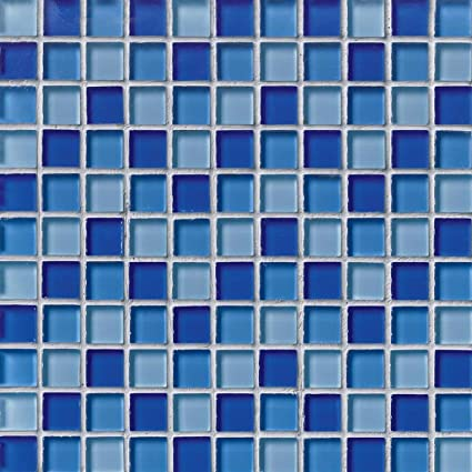 1 X 1 Crystallized Glass Glossy Mosaic In Blue Blend Glass Tiles
