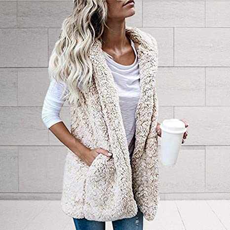 Kaimu Women Casual Hooded Neck Sleeveless Solid Loose Long Cardigan Vest Fleece