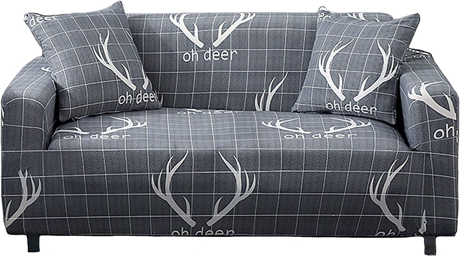 Novelome Soft Fitted Stretch Sofa Slipcover - Stylish Modern Pattern Designs - Furniture Couch Protector Include Pillow Cases – All Seasons Fall Winter Spring Summer (Antlers, Three Seaters)