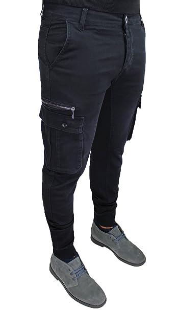 e488b48a16 Pantaloni uomo cargo nero slim fit casual jeans con tasconi laterali ...