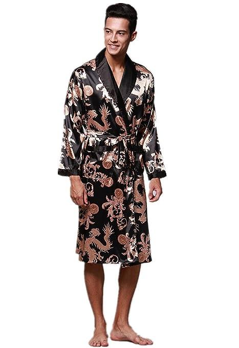 Yunjia Mens Silky Satin Ultra Robes Shawl Collar Kimono Dragon Print  Bathrobe Sleepwear Nightwear Pajamas at Amazon Men s Clothing store  49415060e