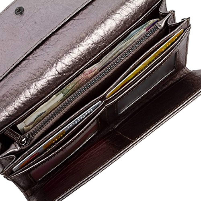BAIGIO Women\'s RFID Blocking Rivet Wallet Trifold Leather Money Clip Zipper Purse Billfold for Credit Card Passport Coin Money Key Checkbook ID Photo