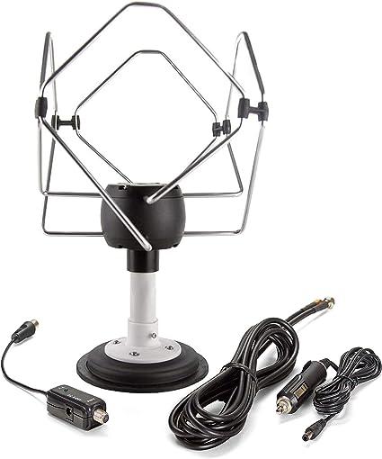 KUMA Matrix TV Antena Amplificador Kit - Exterior TDT HDTV Antenna Omnidireccional para Auto Caravana Autocaravana Camioneta Barco - 12v Portátil ...
