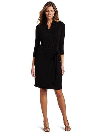 Karen Kane Women's Three-Quarter-Sleeve Cascade Wrap Dress at ...