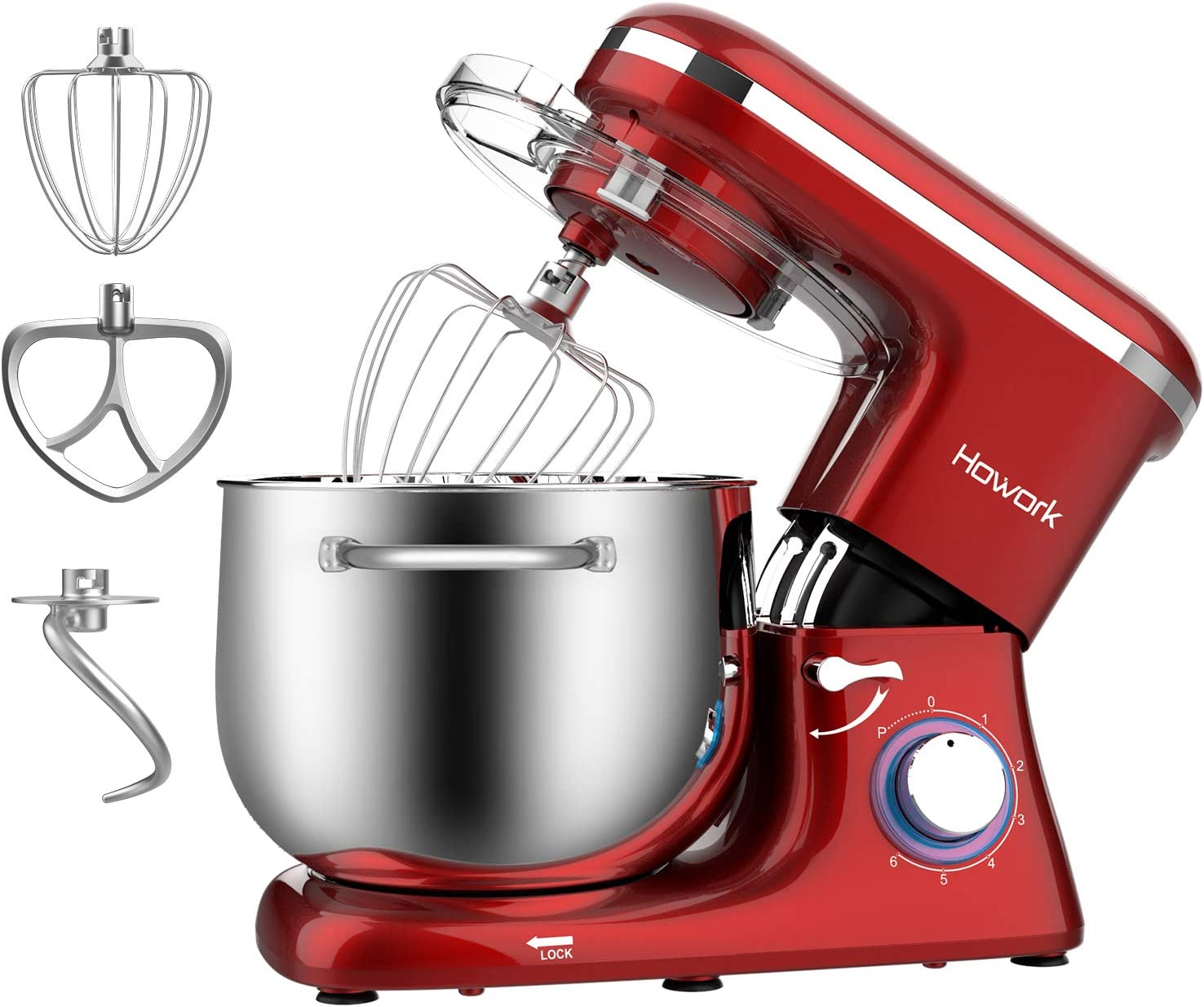 HOWORK Stand Mixer, 8.45 QT Bowl 660W Food Mixer, Multi Functional Kitchen Electric Mixer With Dough Hook, Whisk, Beater (8.45 QT, Red)