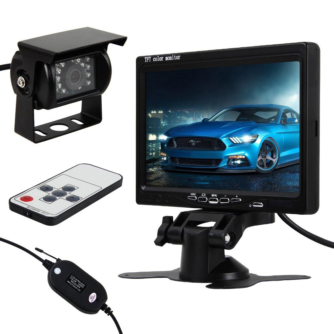 Pathson 7 Pouces LCD Moniteur + CCD Caméra de Recul sans Fils Nocturne Étanche Vision de Nuit avec 18 IR Lampes 120°Vue Arrière de Voiture