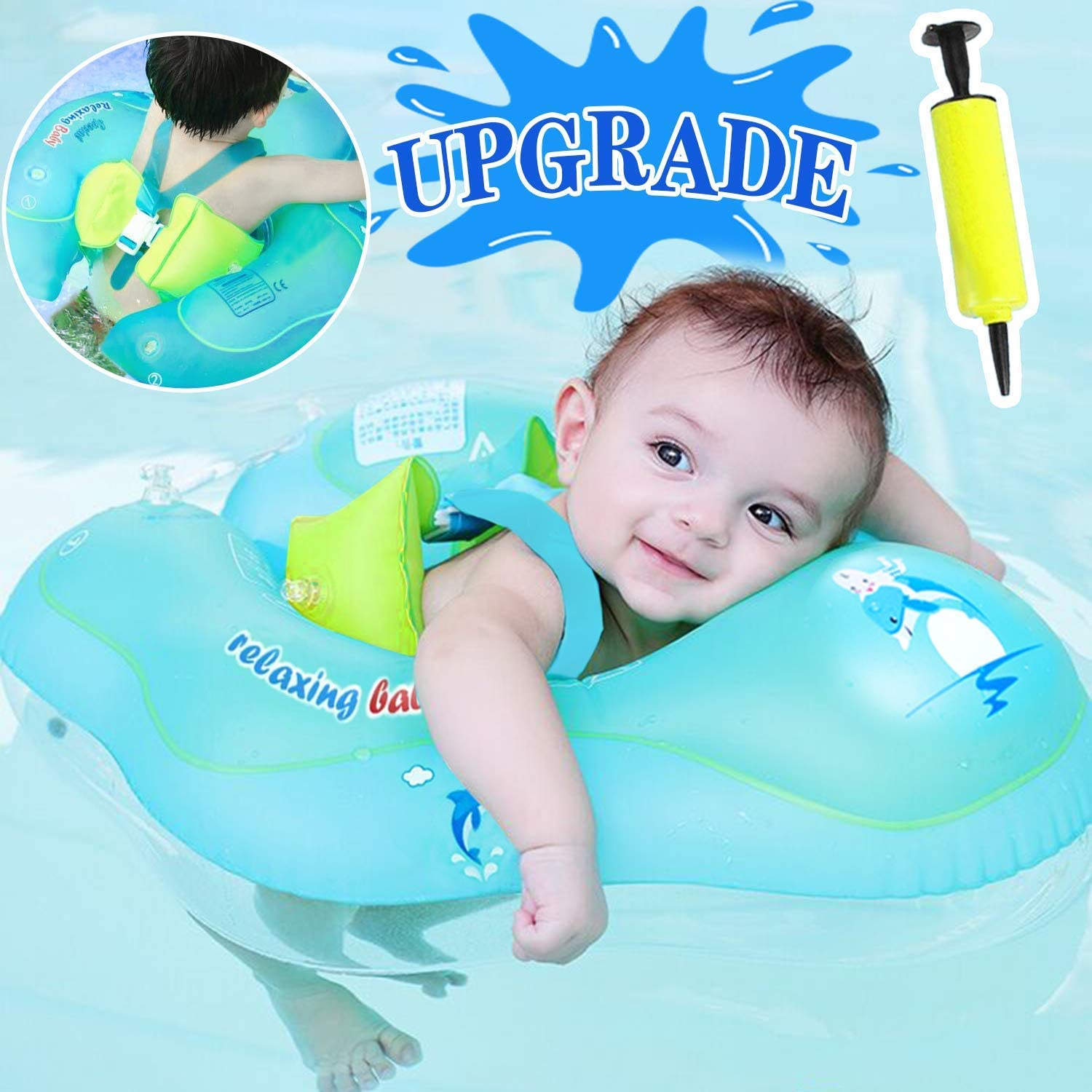 【Anti-Slip Crotch】Baby Swimming Float Ring-Baby Spring Floats Swim Trainer Newborn Baby Kid Toddler Alter 6-30 Month 17.5-33 Lbs Summer Outdoor Beach Water Bath Toy Swimming Pool Accessories