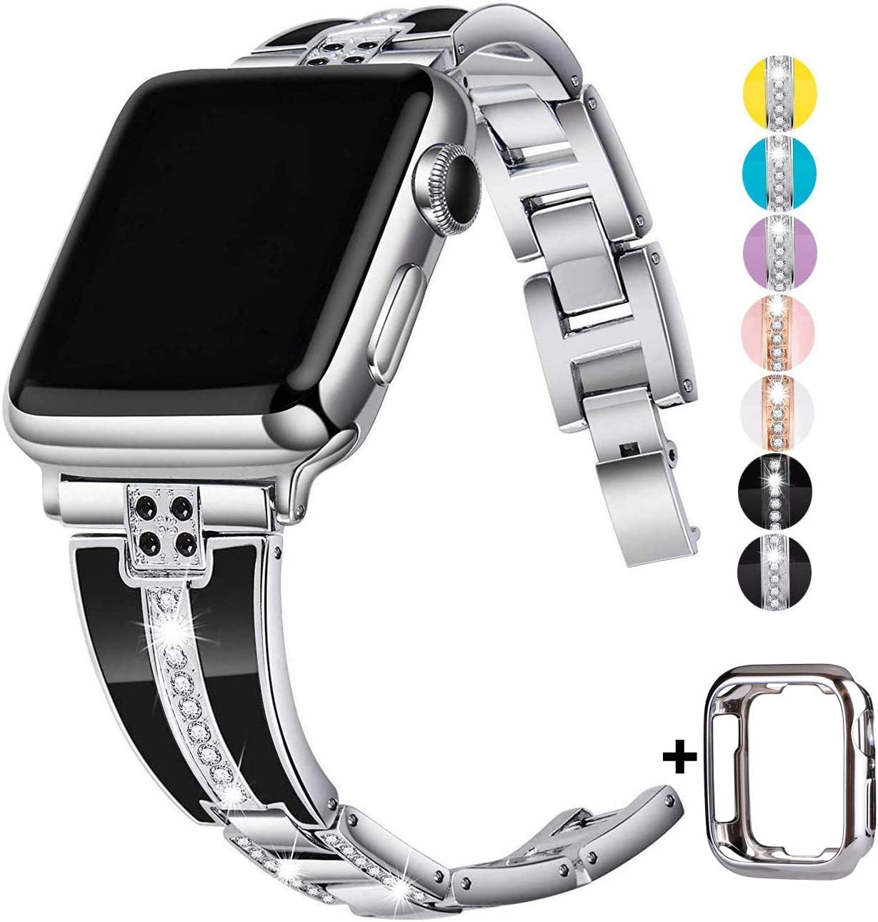 JSGJMY Bling Bands Compatible with Apple Watch Band 38mm 40mm 42mm 44mm with Case,Women Diamond Rhinestone Metal Jewelry Wristband Strap for iwatch Series SE/6/5/4/3/2/1 (Silver, 38mm/40mm)