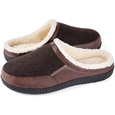 ULTRAIDEAS Men's Cozy Memory Foam Slippers with Warm Fleece Lining, Indoor House Slippers Anti-Skid Rubber Sole | Shoes
