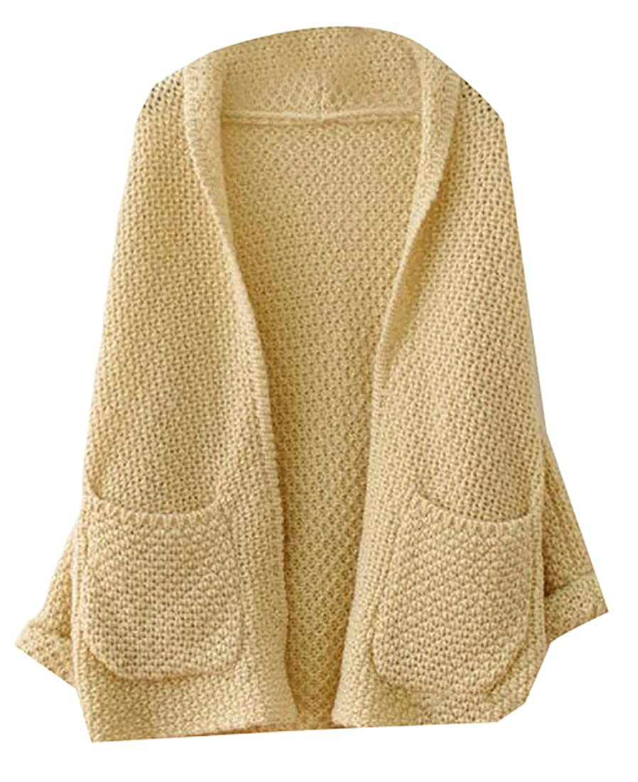 Papijam Women's Casual Knitted Pocket Autumn Thick Cardigan Sweater