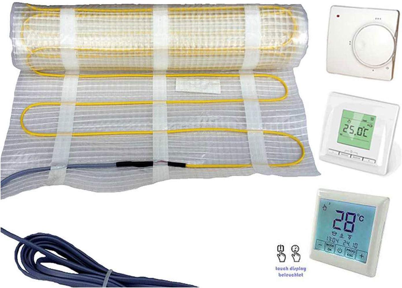 Thermostat optional erh/ältlich Protron/® Elektrische Fu/ßbodenheizung Twin Technologie Bodenheizung Elektro Heizmatte 160 W qm 200 Watt//m/² Auswahl 1-15 m/² Fliesen 160 Watt//m/², 12 m/² - 1920w