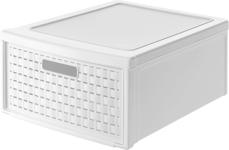 Rotho 1149100100 Country - Grande Cajón con Efecto Mimbre, Color Blanco