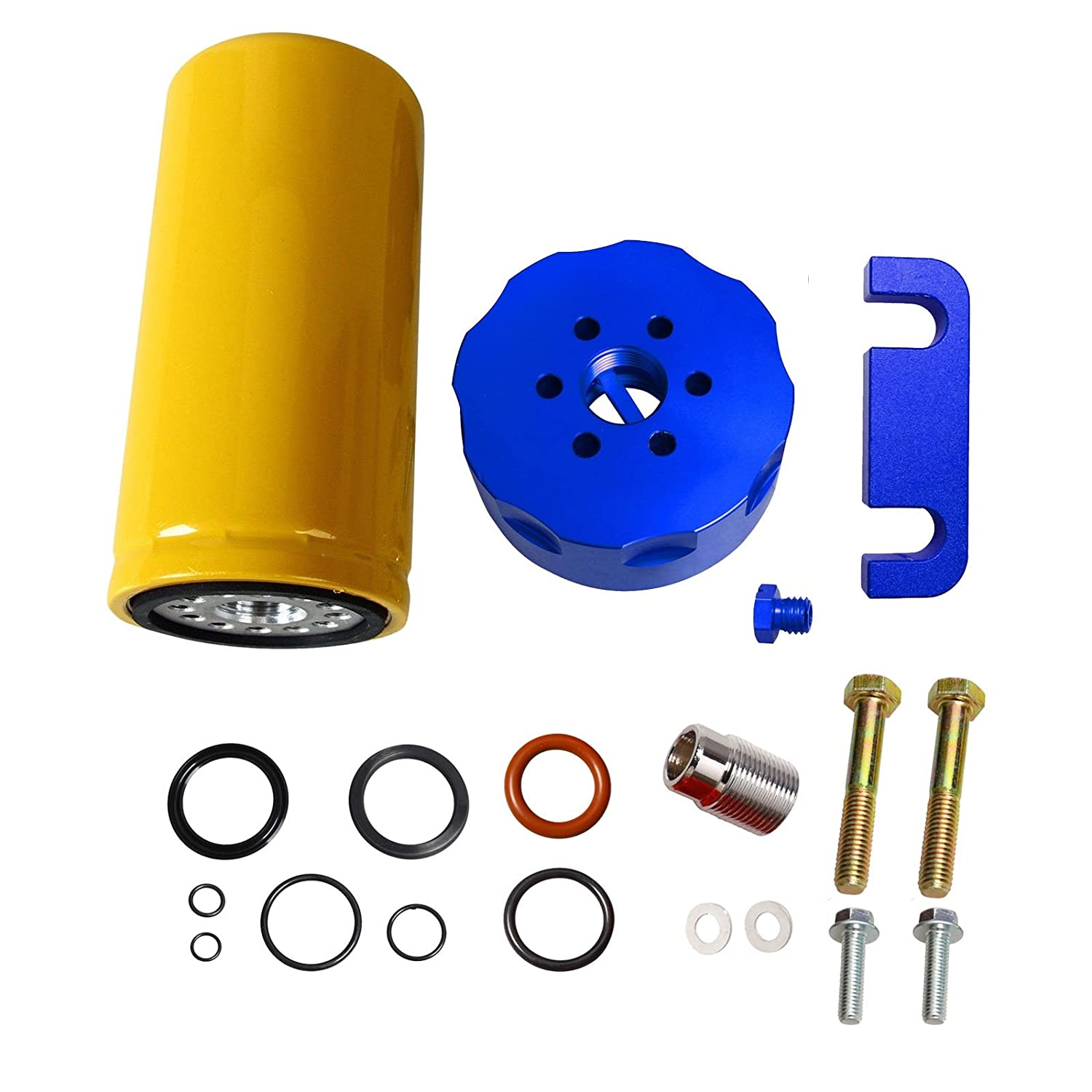 Yjracing Cat Fuel Filter Adapter Conversion Kit Fit For 01 Duramax Housing 06 Chevy Gm 66l Diesel Blue Automotive