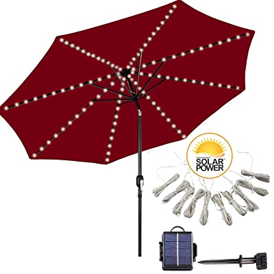 DBFairy Solar Operated Outdoor Umbrella Lights, 8-Ribs 104 LED, 8 Mode, Soft Starry String Lights for Swimming Pool Backyard Balcony Coffee Shop Hanging Sun Umbrella Decor, Battery Replaceable- White