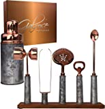 Galrose Dezigns Cocktail Shaker Set - 6 Bar Tools Bar Accessories, Rustic Galvanized Iron Bar Set Rose Gold Trim…