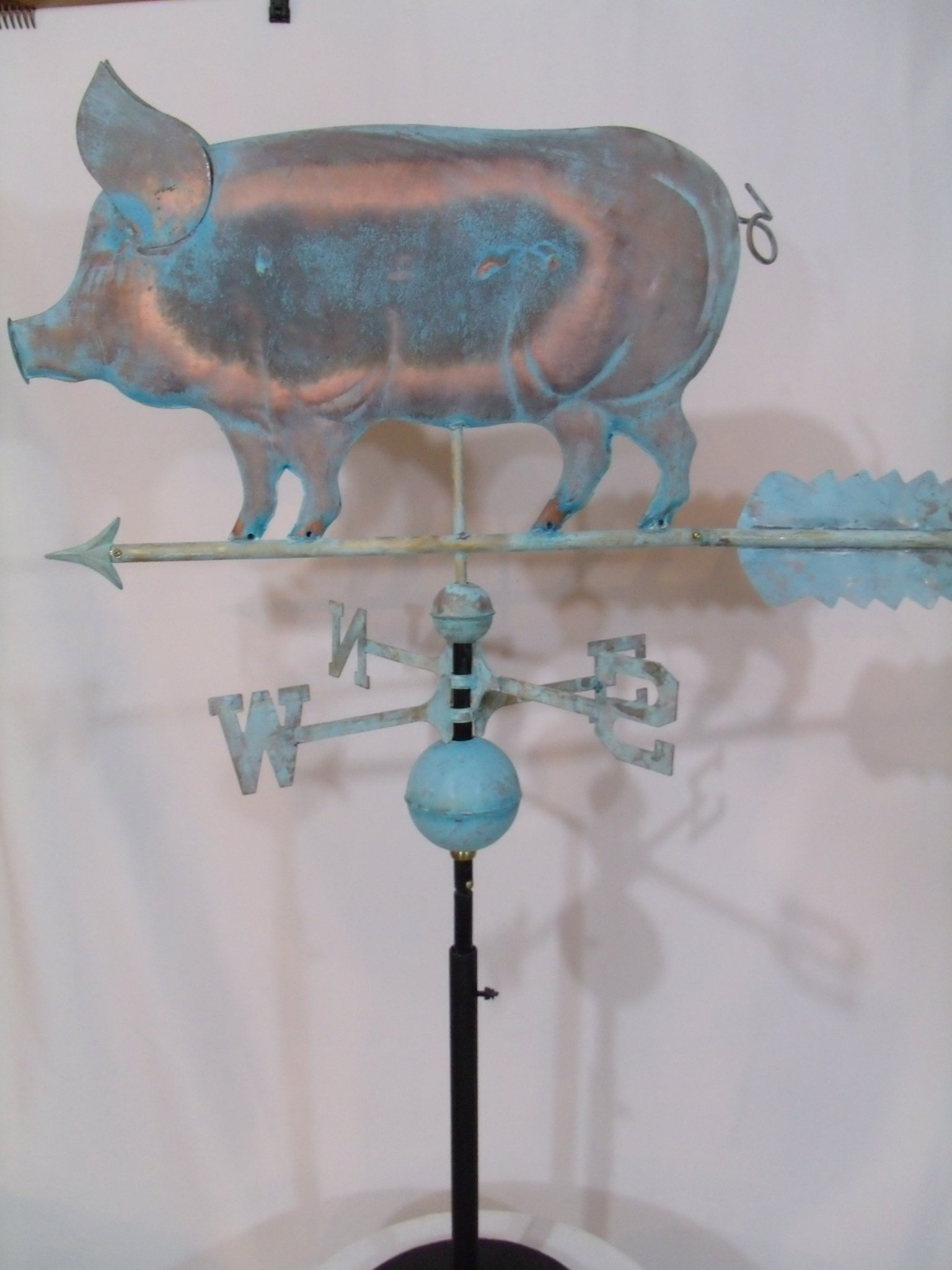 Patina Finish Copper PIG Weathervane with Free Roof Mount by Outdoor Art