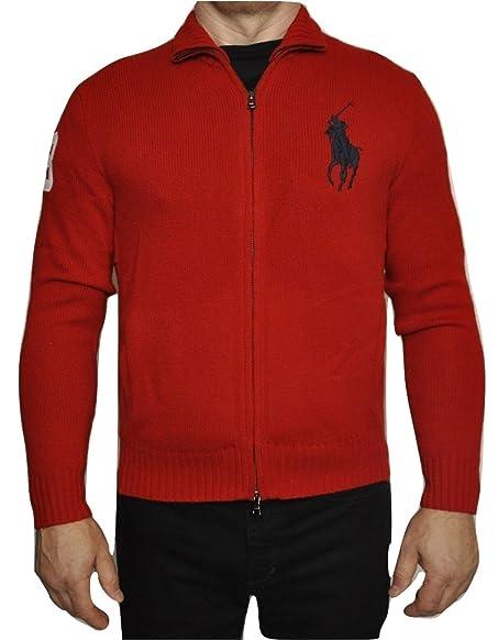 Polo Ralph Lauren Lambswool Big Pony Logo Full Zip Cardigan Sweater, Red,  Medium