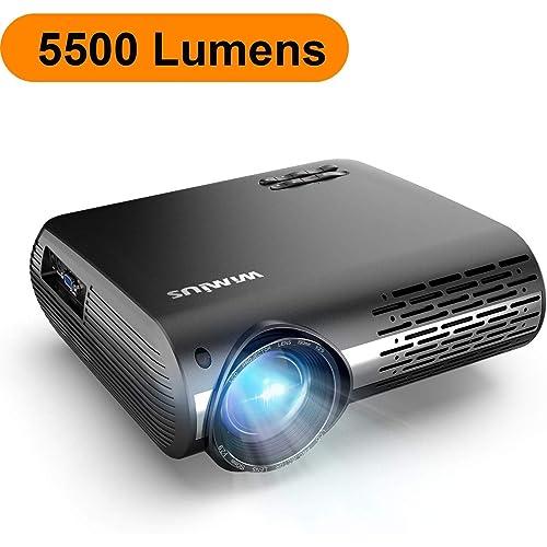 Proyector WiMiUS 5500 Lúmenes Proyector Full HD 1920x1080P Nativo Proyector Video Compatible 4K Pantalla 300 Ajuste Digital 70 000 Horas Proyector LED para Cine en Casa y Presentación Empresarial