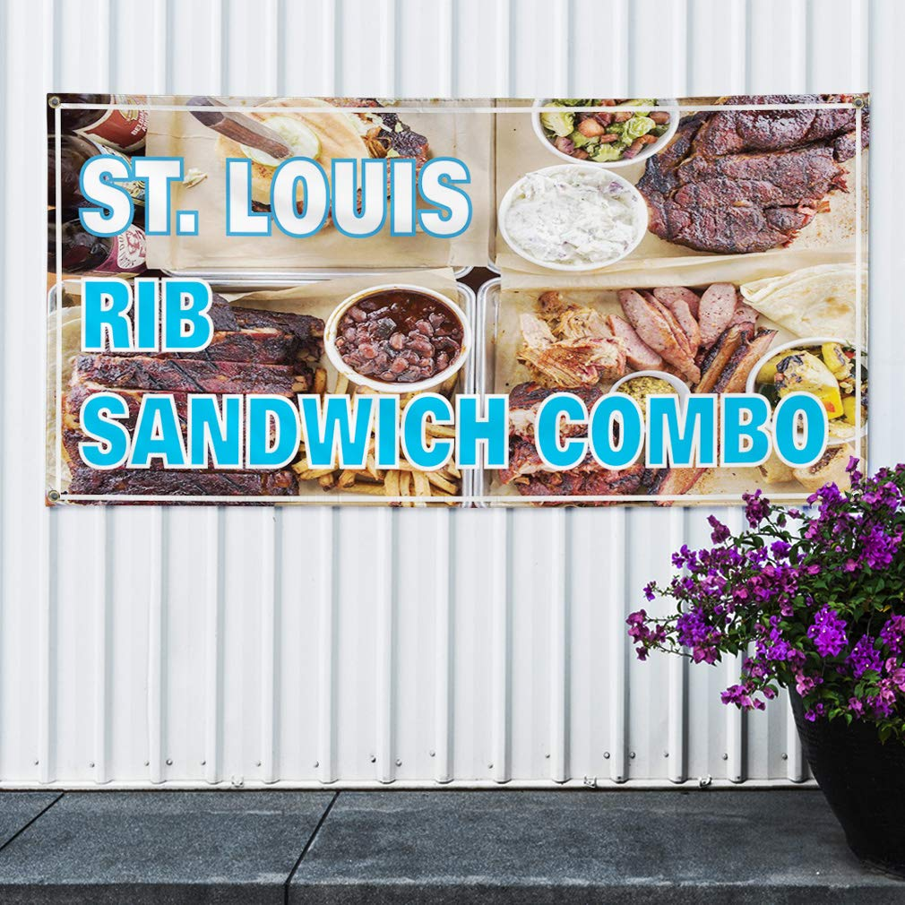 Louis Rib Sandwich Combo Business Marketing Advertising Aqua-Blue Vinyl Banner Sign St Multiple Sizes Available 28inx70in Set of 2 4 Grommets