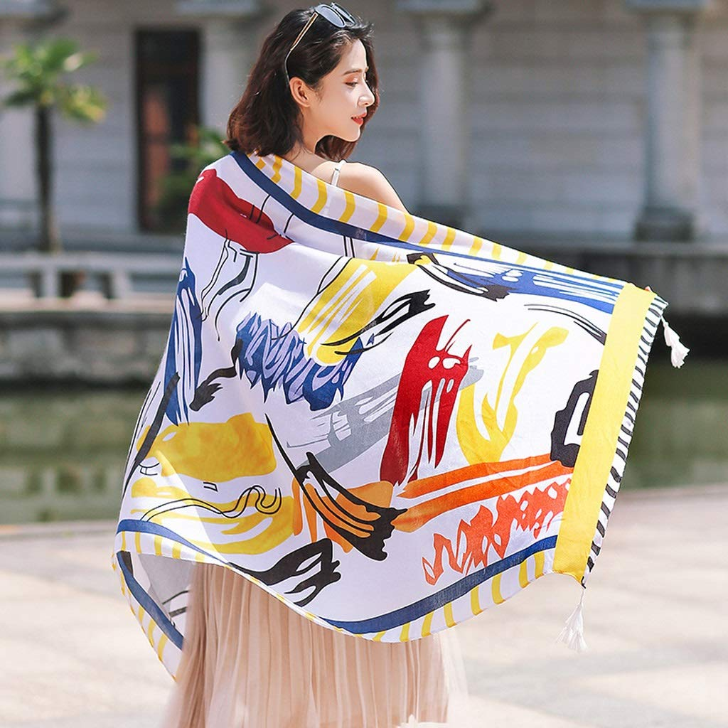 Ethnic Style Cotton and Linen Scarves Ladies Oversized Travel Shawl Long Retro Tassel Pendant Beach Towel Sunscreen Warm Multi-Design (Edition : B)