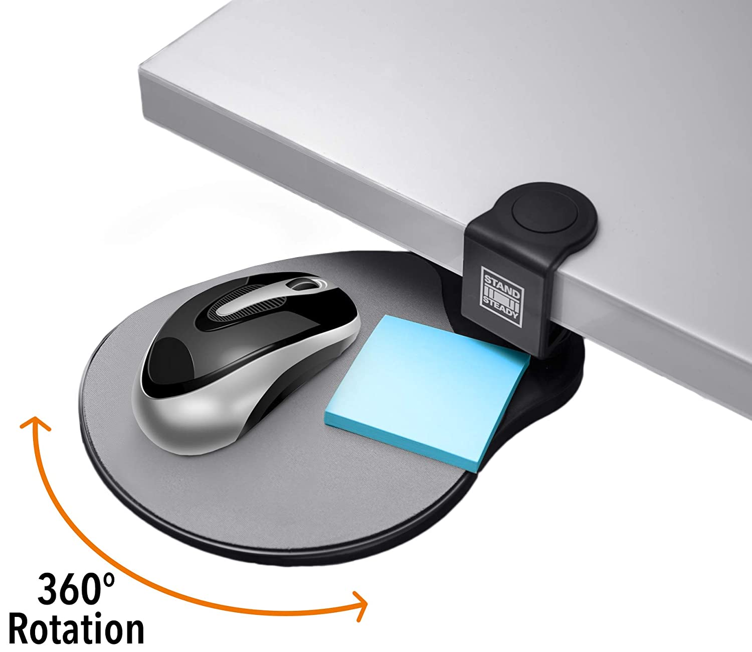 Original Desk Potato by Stand Steady - Easy Clamp Attachable Desk Shelf/Mouse Pad/Buy 2 and Make a Keyboard Tray! Best-Seller!