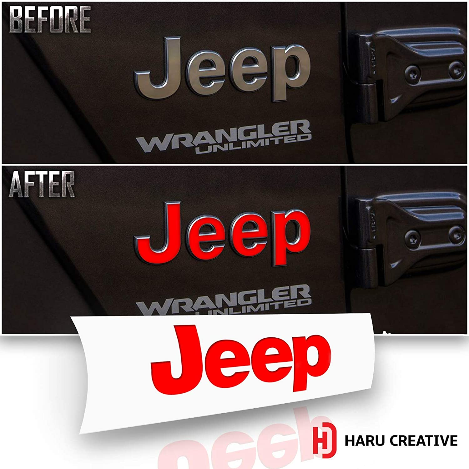 Chrome Red Fender Side Door Emblem Letter Overlay Vinyl Decal Sticker Compatible with and Fits Jeep Wrangler JL 2018 Haru Creative