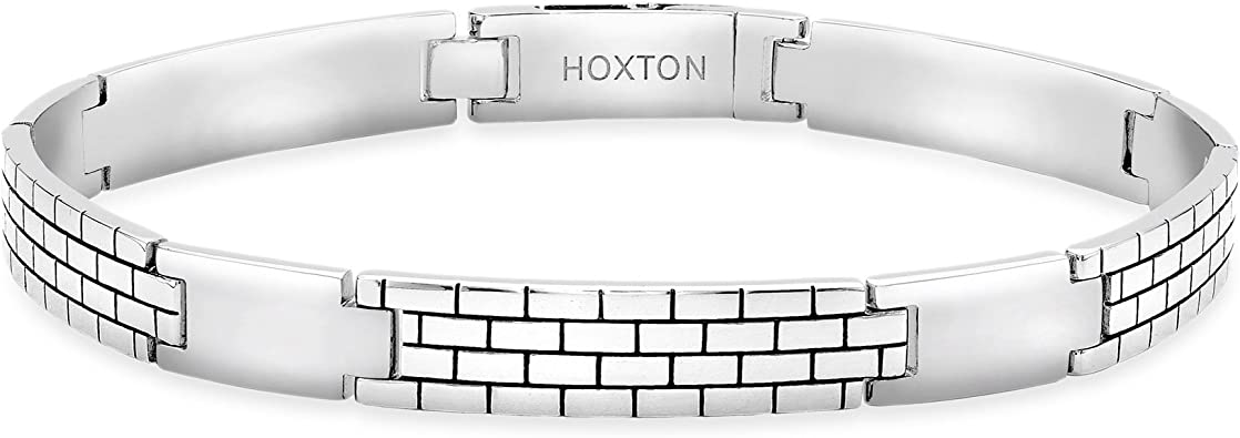 Hoxton London Herren Sterling Silber Ziegeglmuster