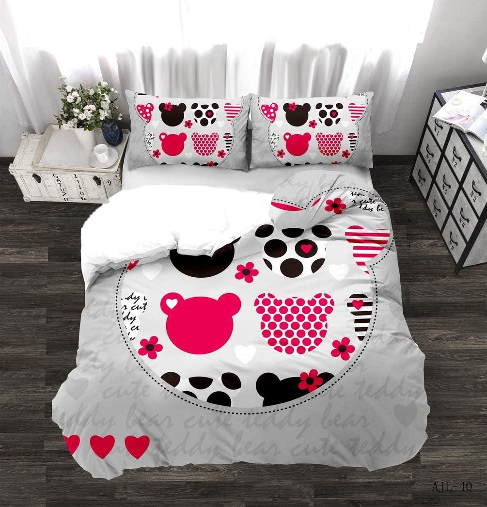 10 Set copripiumino Minnie e Topolino San Valentino 2//3 pezzi 135x200cm 100/% poliestere DCWE