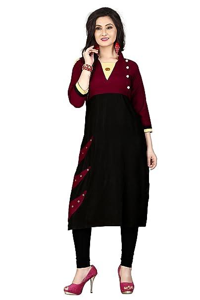 Shringaar Fashion® 3/4th Sleeve Rayon Plan Work Kurti -SF86: Amazon