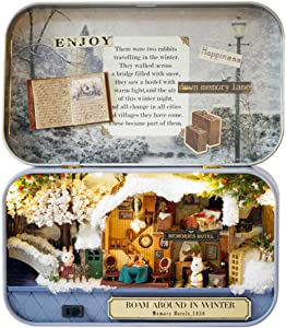 MAGQOO 3D Wooden Dollhouse Miniature DIY Doll House Kit with Furniture,1:24 DIY Box Theater Kit (Roam in The Winter)