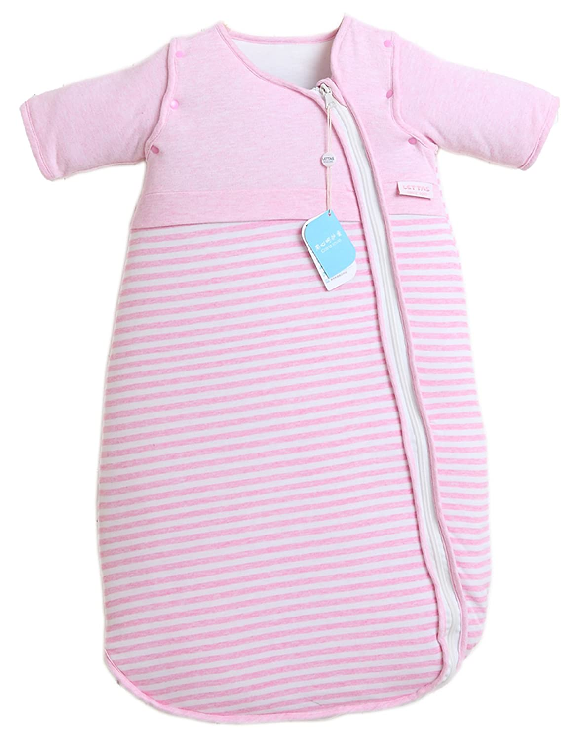 LETTAS Baby Girls Cotton Removable Long Sleeve Zip up Sleeping Bag Thicken Autumn Winter Pink (12-24 Months,M) LT017ThinPinkM