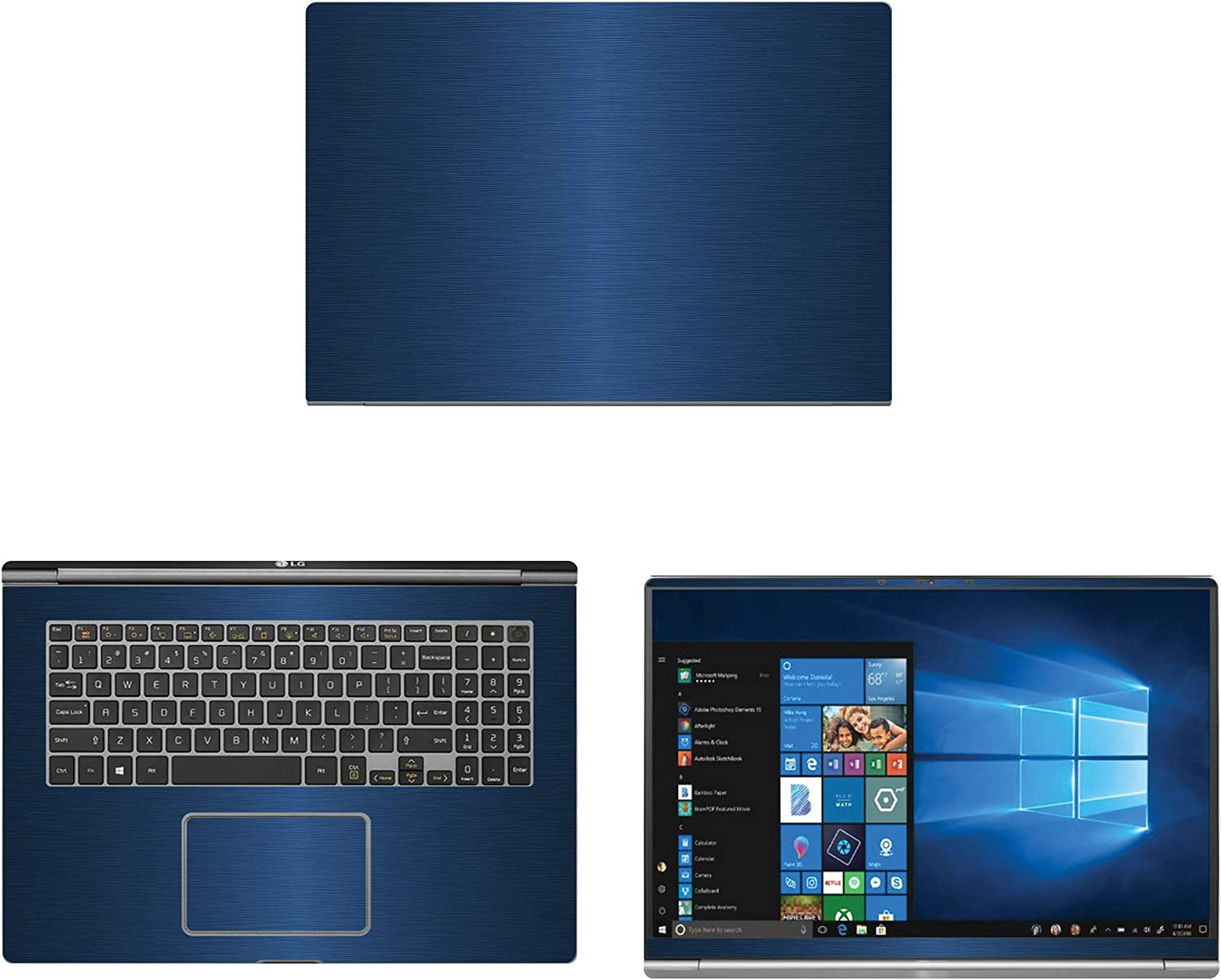 """decalrus - Protective Decal for LG Gram 17Z990 (17.3"""" Screen) Laptop Blue Texture Brushed Aluminum Skin case Cover wrap BAlgGram17_17Z990Blue"""