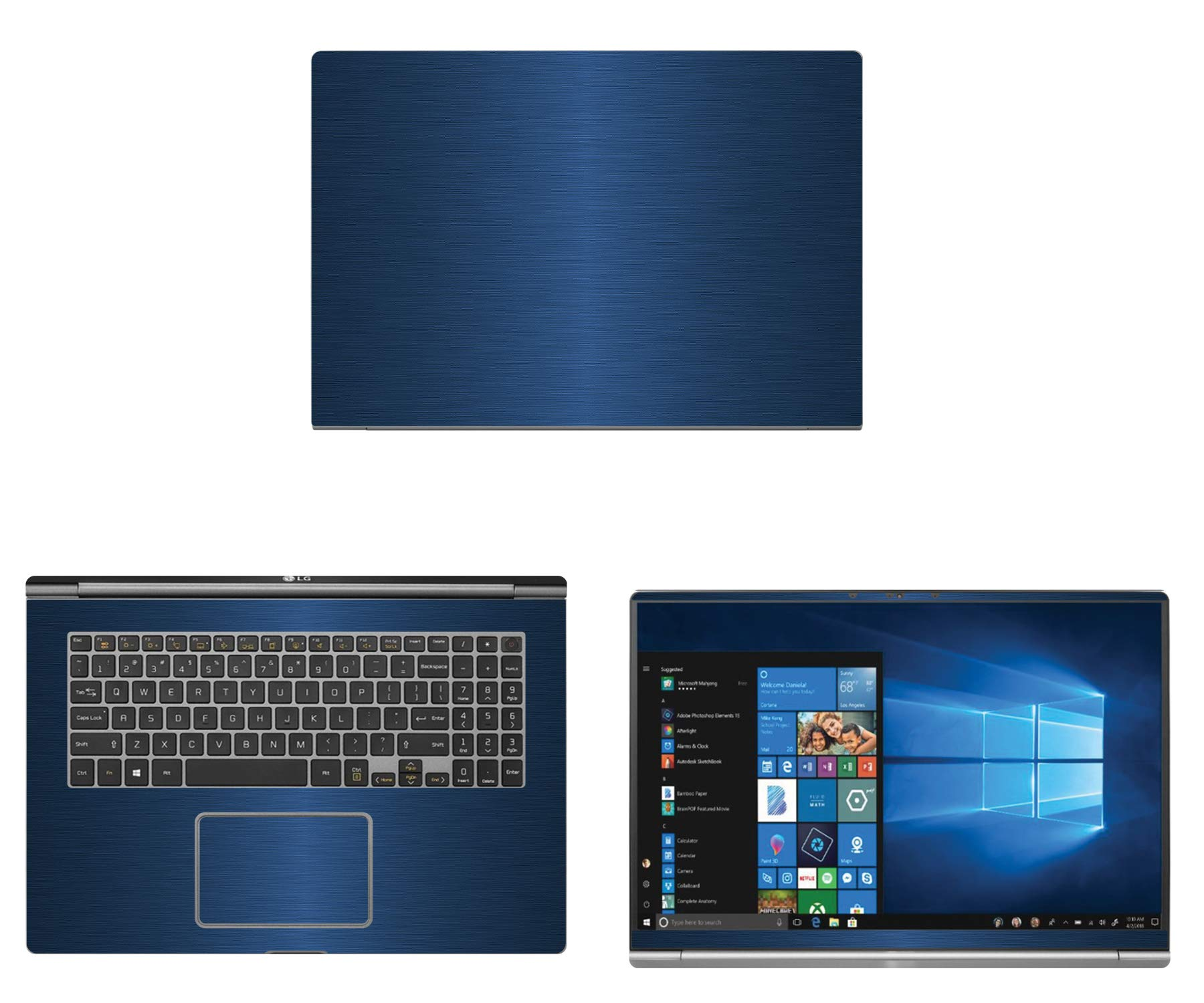 decalrus - Protective Decal for LG Gram 17Z990 (17.3'' Screen) Laptop Blue Texture Brushed Aluminum Skin case Cover wrap BAlgGram17_17Z990Blue