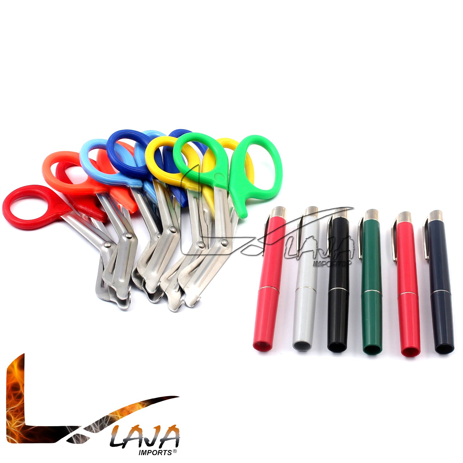 LAJA IMPORTS ASSORTED RAINBOW 6 PCS PINK EMT FIRST RESPONDER 7.5'' SHEARS + ASSORTED RAINBOW PENLIGHTS - IDEAL GIFT FOR NURSES, EMT, FIREFIGHTER, POLICE AND MILITARY