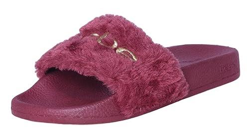 85c6bbed4d4 bebe Girls Faux Fur Slide Logo Sandals (11-12