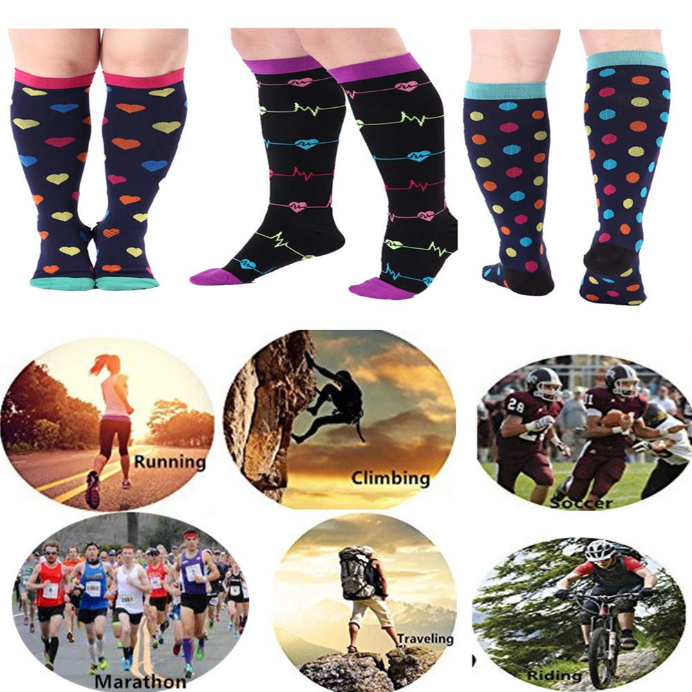 ZFiSt 3 Pairs Medical&Althetic Compression Socks for Women, 20-30 mmHg Nursing Performance Socks for Edema, Diabetic, Varicose Veins,Shin Splints,Running Marathon (Style1, L/XL)