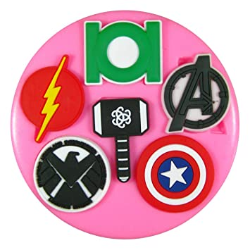 Logos de superhéroes Molde de silicona para la torta de Decoración Pastel de Cupcake Toppers Glaseado Sugarcraft Tool por Fairie Blessings: Amazon.es: Hogar