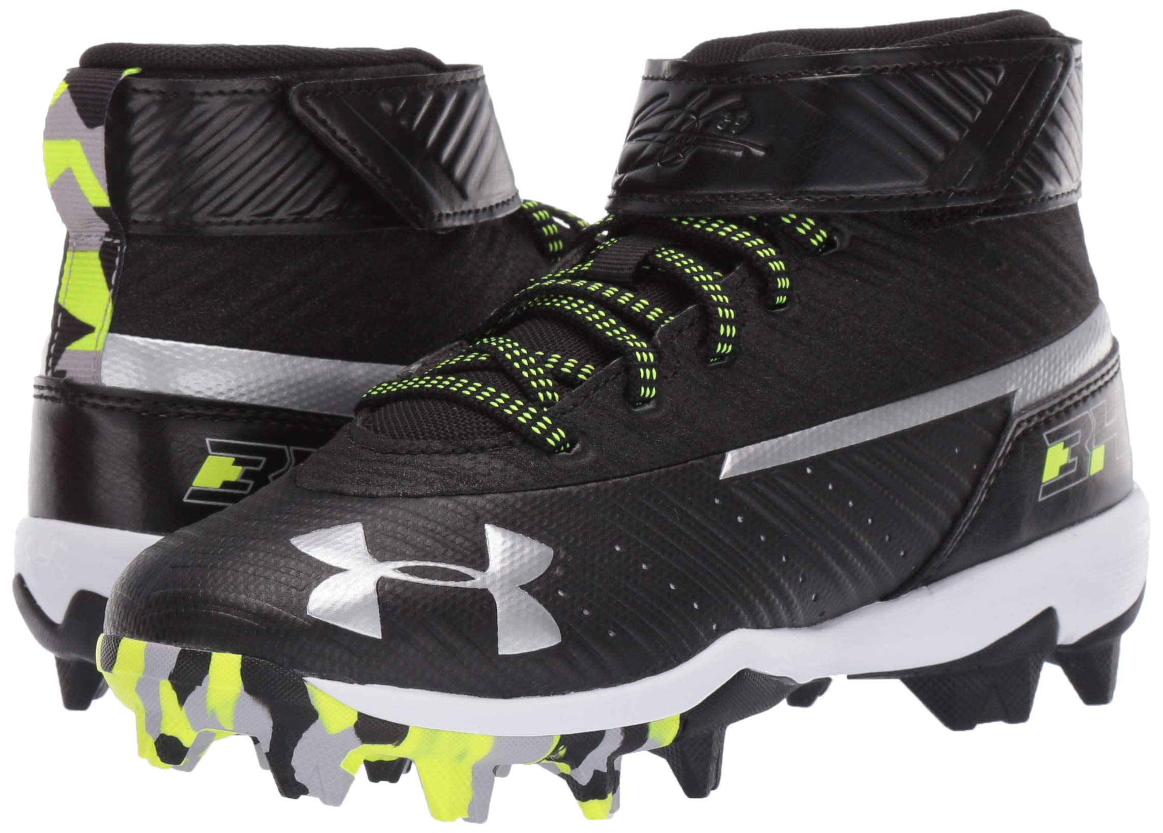 Under Armour Boys' Harper 3 Mid Jr. RM Baseball Shoe Black (001)/White 1.5 by Under Armour (Image #6)