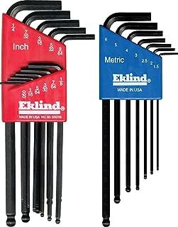product image for Eklind 13218 Metric & Standard 18pc Ball Hex Key Set - Long