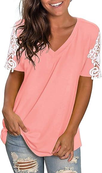 NIASHOT Womens V Neck T Shirts Short Sleeve Causal Summer Lace Tee Tops