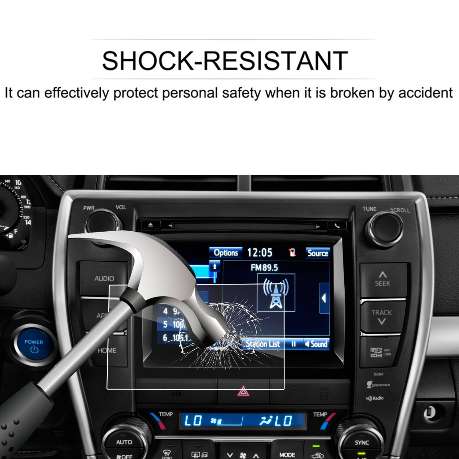 Tempered Glass Infotainment Center Touch Screen Protector Anti Scratch High Clarity LFOTPP Toyota Camry Entune 7 Inch 2015-2017 Car Navigation Screen Protector, 9H