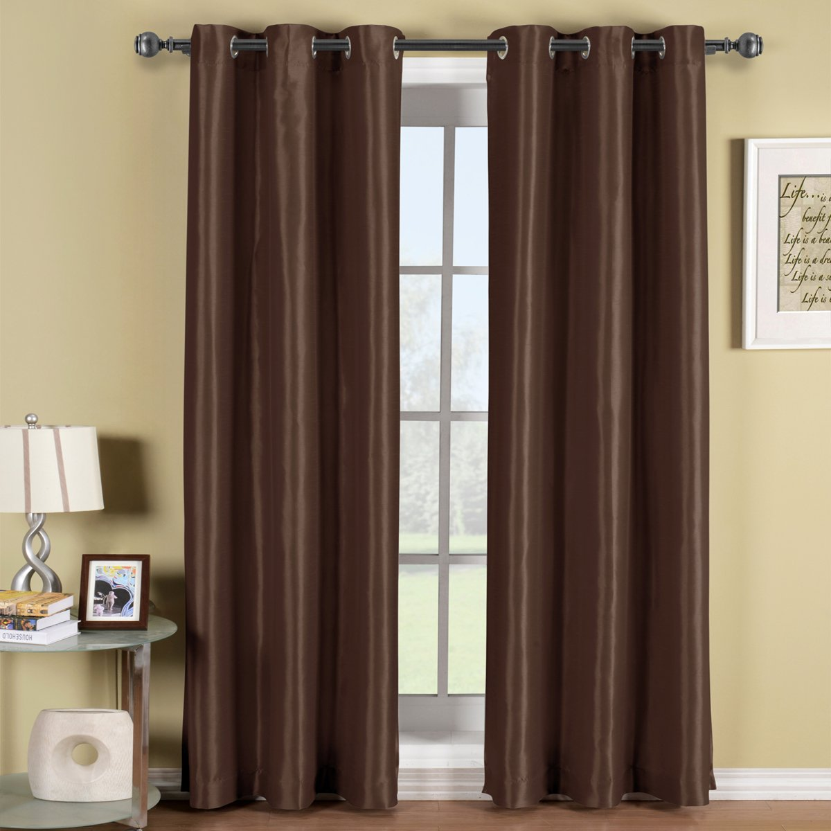 Soho Chocolate-Brown Grommet Blackout Window Curtain Drape, Solid Pattern, 42x84 inches, by Royal Hotel