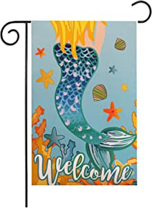 Mermaid Welcome Garden Flag 12.5 x 18 Inch, Munzong Seaweed Shell Starfish Burlap House Flag Vertical Double Sided Outdoor Decorative for Summer Baby Shower Under The Sea Party Supplies for Home Decor