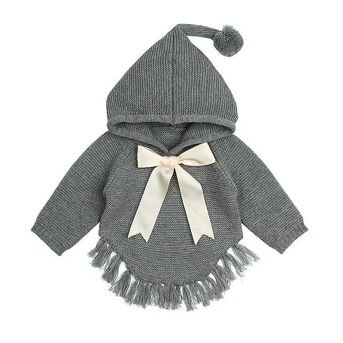 Abrigos Bebé, Dragon868 otoño Invierno bebé niños niñas Arco Borla de Punto Encapuchado Abrigos de suéter: Amazon.es: Ropa y accesorios