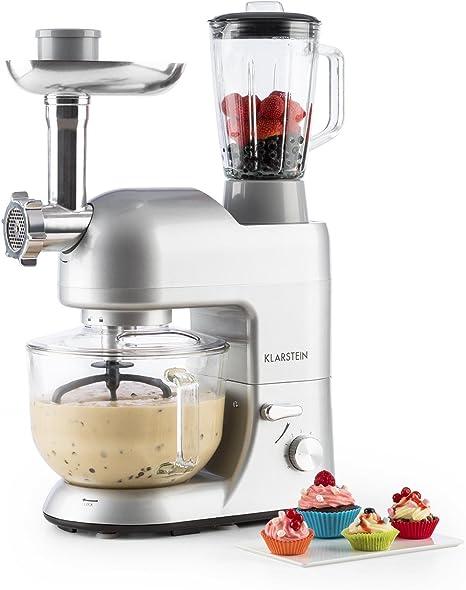 Klarstein Lucia Argentea 2G - Robot de cocina universal, Batidora, 1200 W, 5,2 Litros, Amasadora planetaria, Picadora de carne, Rodillo pasta, Licuadora 1, 5 L, 6 Velocidades, Plateado: Amazon.es: Hogar