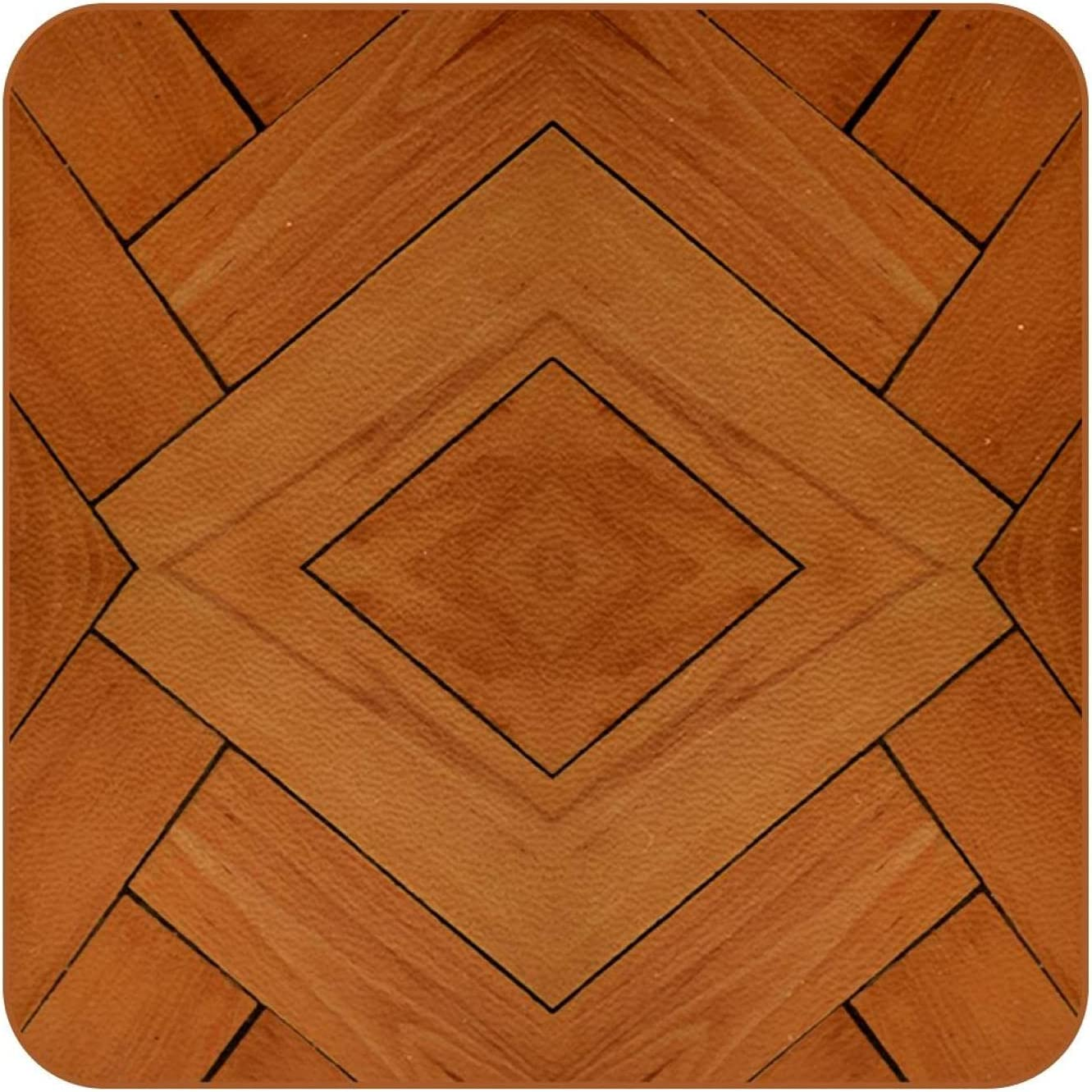 Wood Floor Background Coasters for Drinks Set of 6, Leather Square Mug Cup Pad Mat for Protect Furniture, Heat Resistant, Kitchen Bar Decor
