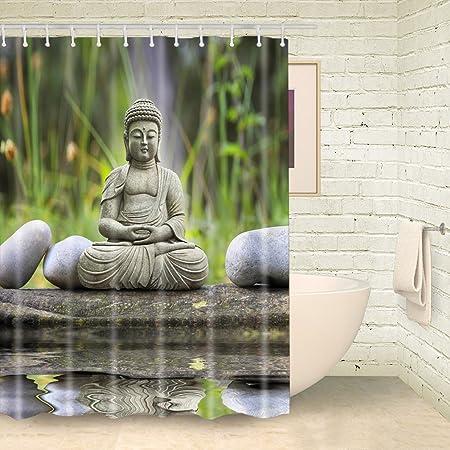 FOOG Yoga Buddha Shower Curtain Stone Bath Curtains With Rings 70quot