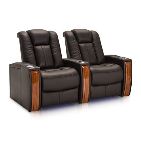 Seatcraft Monaco Leather Home Theater Seating Power Recline with Adjustable Powered Headrests and Built-In SoundShaker (Row of 2, Black)