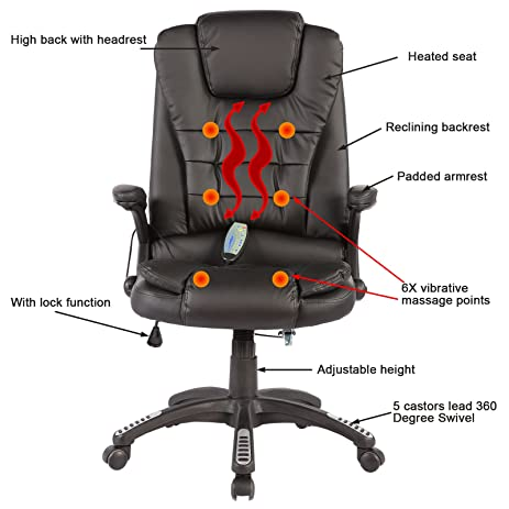 sgs office massage chair executive heated vibrating computer chair black